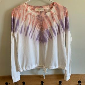 No Comment Tie-Dye Long Sleeve Cropped Top Size S